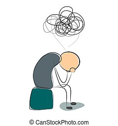 Depressed man with many thoughts - Vector illustration....