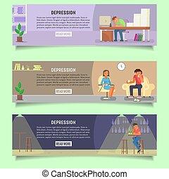 Depressed people vector web banner template set