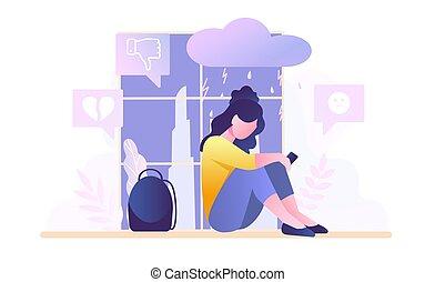 Depressed sad upset teenager girl sitting