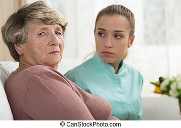 Depressed senior woman