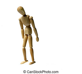 Depressed - wooden figurine standing depressed or fired...