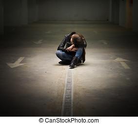 Depressed Teenage Girl - Depressed teenage girl with hands...