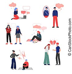 Depressed Teenagers Set, Bullying, Conflict with Parents, Depression, Unrequited Love, Teenage Puberty Problems Concept Vector Illustration