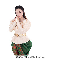 Depressed woman in Thai traditional dress isolated on white