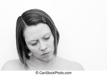depressed woman looking down