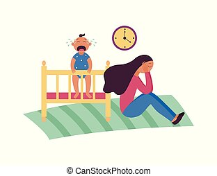 Depressed woman sits on floor while baby is crying in cot flat cartoon style