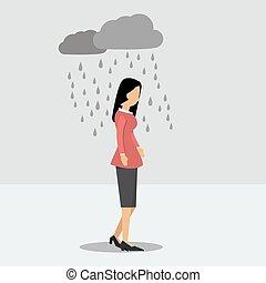 Depressed woman under the rain - Vector illustration....