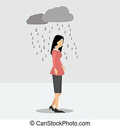 Depressed woman under the rain - Vector illustration....