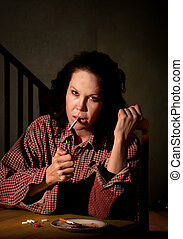 Depressed woman with prescription medicine