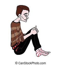 Depressed young man sitting. Vector illustration, isolated on white.