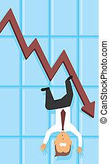 depressie, het vallen, economisch, /, zakelijk