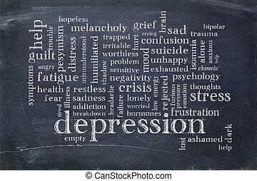 depressie, woord, wolk, op, bord
