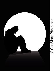 A man in silhouette sitting on the ground in a dark tunnel. Loneliness, depression, homeless, stressed, frustration theme