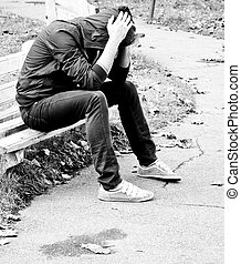 Depression - A young man fell into depression