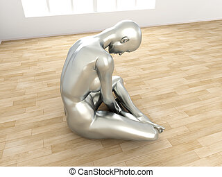 Depression - Abstract 3D rendered illustration of a...