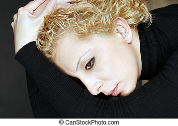 Depression and Stress - Portrait of blond woman in deep...
