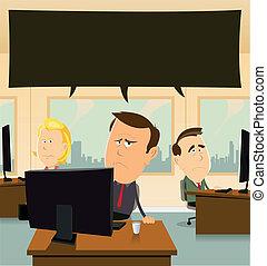Depression At The Office - Illustration of cartoon ...