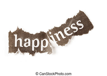 """Depression concept featuring the word """"happiness"""" torn in..."""