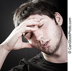 Depression concept - sad young man