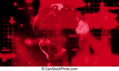 Depression crisis decline red and black text background with wire frame globe loop