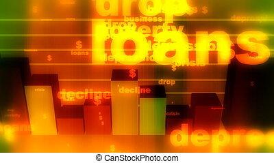 Depression Decline Bar Graph Loop - Looping Business Decline...