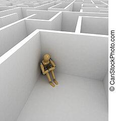 Depression - Depressed mannequin sitting in the corner of a...