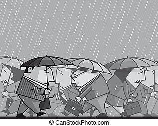 Depression - Illustration Depressed businesspeople walking...