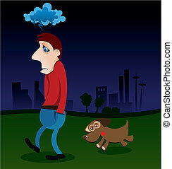 Illustration of a depressed man walking with his dog