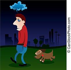 Depression - Illustration of a depressed man walking with ...