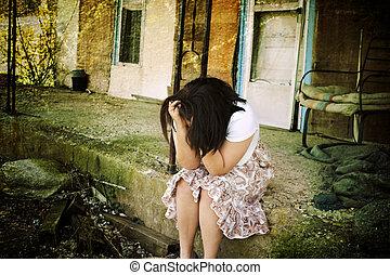 Depression - Illustration of a depressed teenager