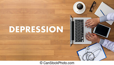 DEPRESSION miserable depressed , Depression and its consequences, Depressed emotions concept , alone in depression