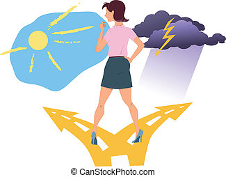 Young woman standing at the fork in the road, choosing between happiness and depression, vector illustration