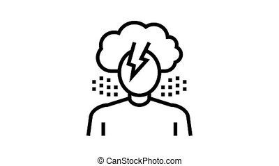 depression psychological problems animated black icon. depression psychological problems sign. isolated on white background