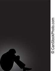 Seated man in a state of depression on a black background