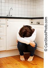depression., sentando, mulher, cozinha, chão