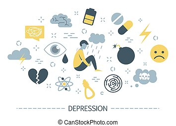 Depression signs and symptom. Infographic for people