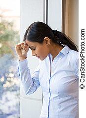 Depression - Closeup portrait, sad young woman in blue...
