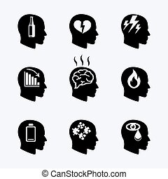 Depression, stress concept or mental health icons