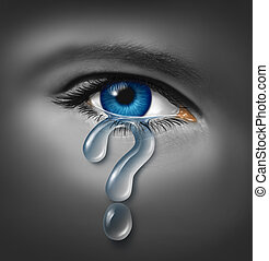 Depression Symptoms and understanding the mood swings that result in feeling sad and down caused by stress helplessness and hopelessness with a close up of a human eye with a crying tear drop in the shape of a question mark.