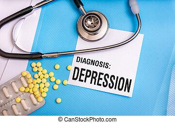 Depression word written on medical blue folder