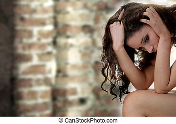 Young beautiful woman with depression