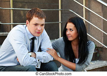 Depression - Young businessman in depression.