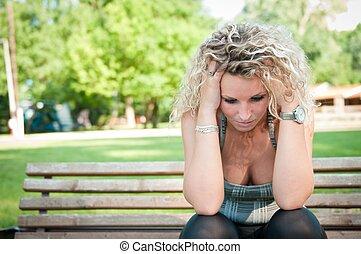 depressione, -, preoccupato, giovane