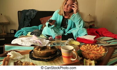 Depressive woman watching tv