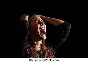 depresso, donna piange, e, gridare, disperato, in, nero