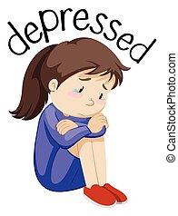 depresso, ragazza, sfondo bianco, giovane