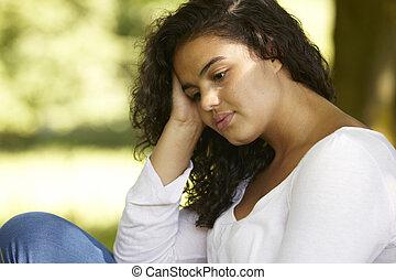 depresso, seduta, donna, giovane, fuori
