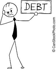 depresso, segno, concettuale, uomo affari, debito, cartone animato