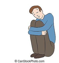 depresso, triste, uomo