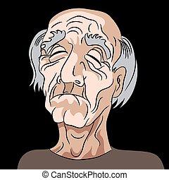 depresso, triste, vecchio, cartone animato, uomo